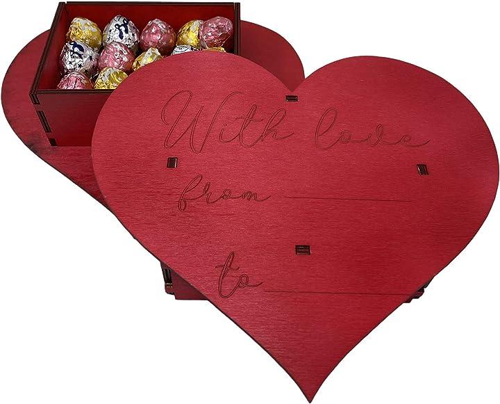 Scatola san valentino personalizzata in legno rossa a forma di cuore con 350 gr di baci perugina cioccolatini B08THXTH6T