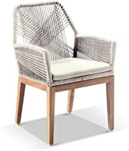 Darcey Outdoor Teak and Rope Dining Chair - Cream, Cream - Outdoor Chairs, Outdoor Furniture - Bay Gallery Furniture