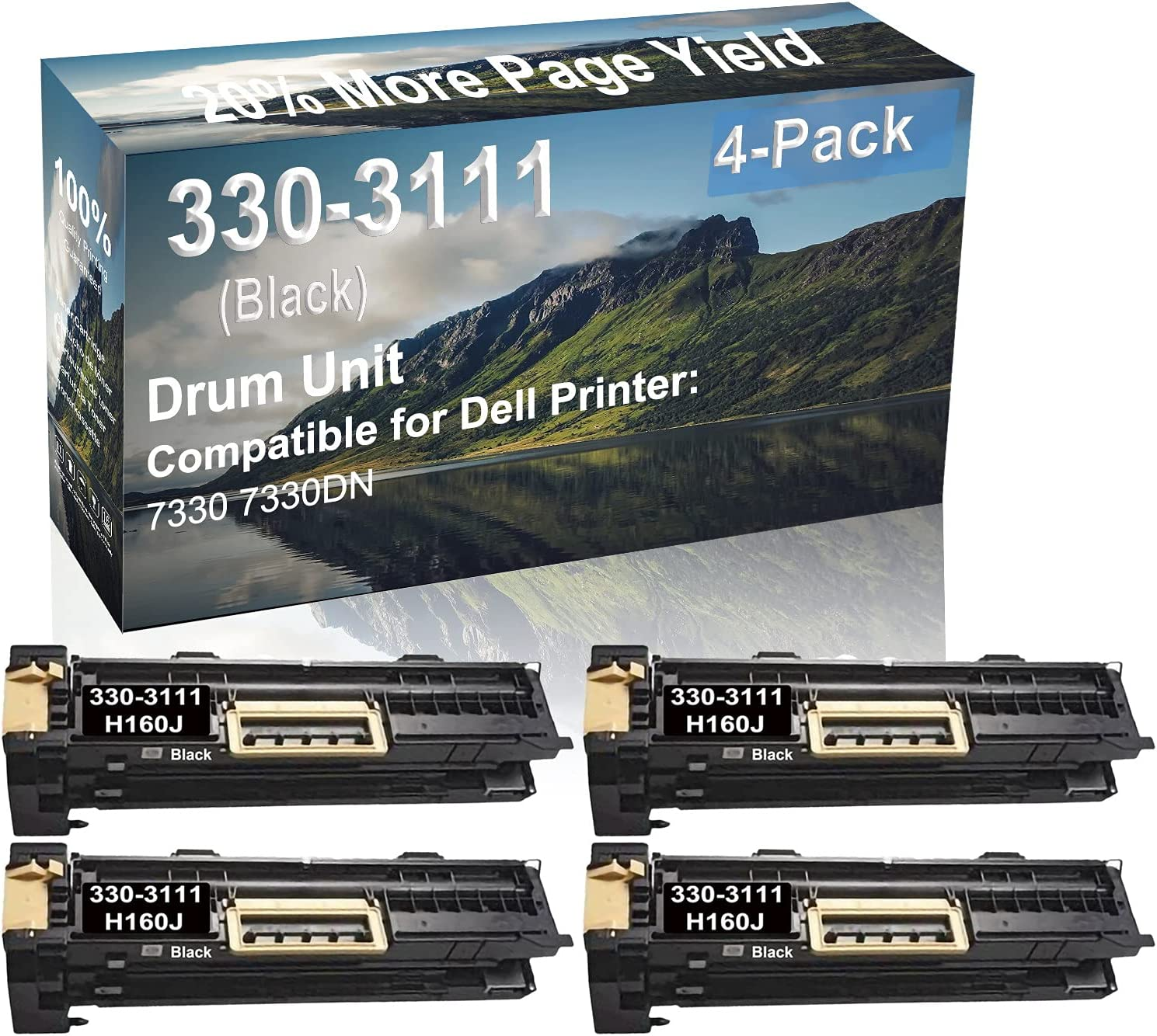 4-Pack Compatible Drum Unit (Black) Replacement for Dell 330-3111 H160J Drum Kit use for Dell 7330 7330DN Printer
