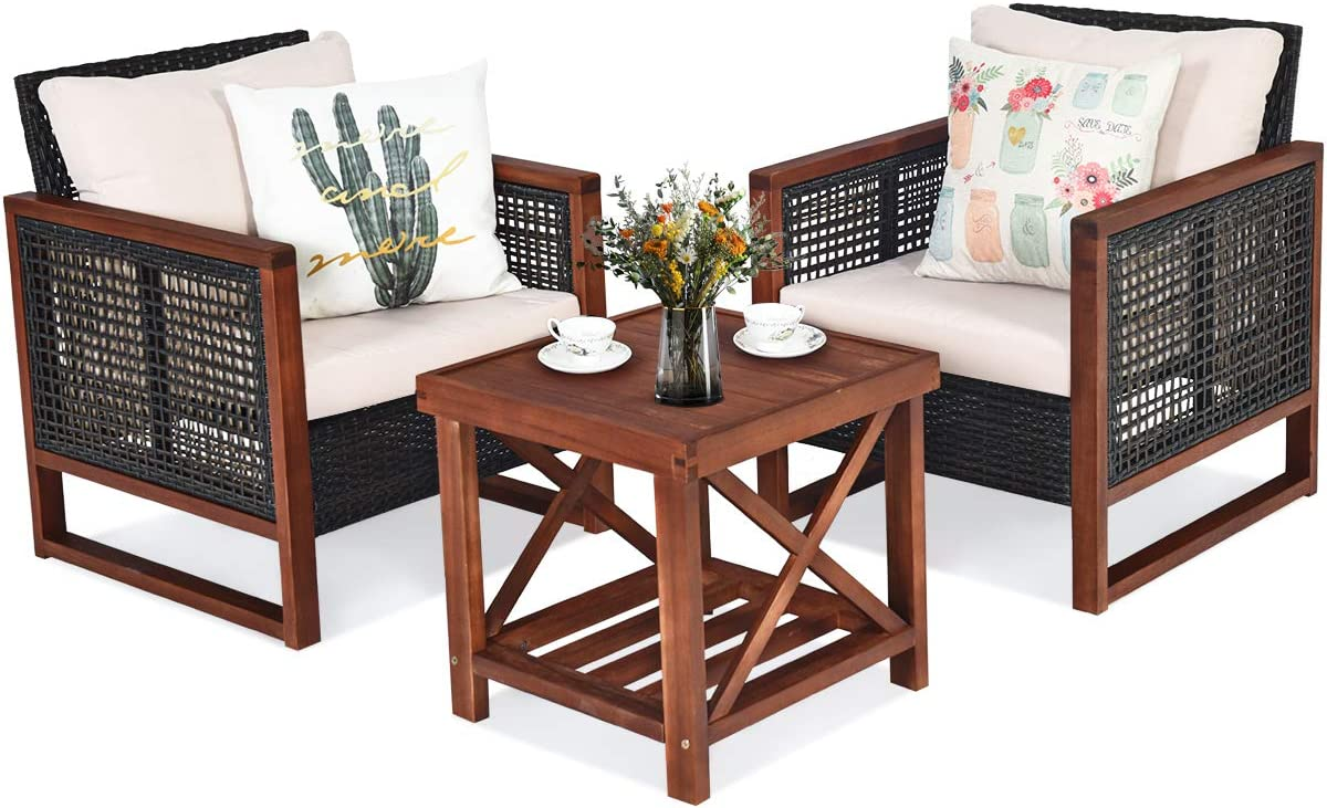 Safety and trust Tangkula 3 Pieces Patio Wicker Outdoor Sof Max 52% OFF Furniture Rattan Set