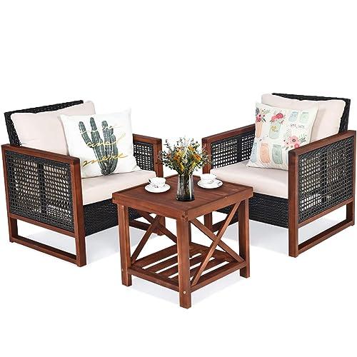 Tangkula 3 Pieces Patio Wicker Furniture Set, Rattan Outdoor Sofa Set w/Washable Cushion & Acacia Wood Coffee Table, Conversation Bistro Set for Garden Balcony Backyard (Beige)
