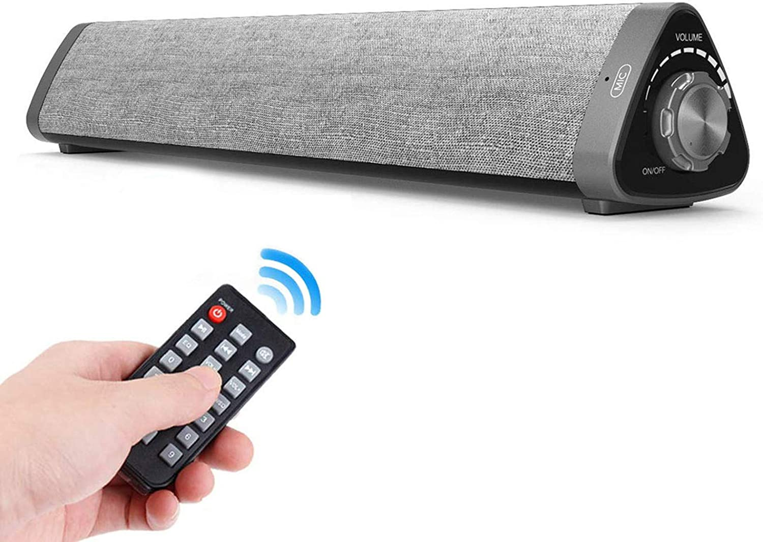 Soundbar, TOPROAD Wired and Wireless Home Theater Bluetooth Speaker Bar with Remote Control, TF Card- Surround Sound Bar for PC/Phones/Tablets, 2 X 5W Compact Speaker