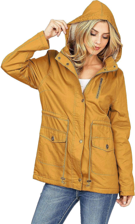 C'est Toi Women's Hooded Sherpa Lined Cotton Parka Jacket