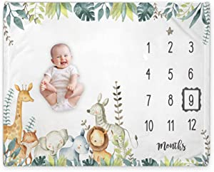 Yuzioey Safari Baby Monthly Milestone Blanket, Jungle Animals Baby Month Blanket for Newborn Baby Shower, Baby Boy Blanket Growth Chart Nursery Decor, Includes Marker (50