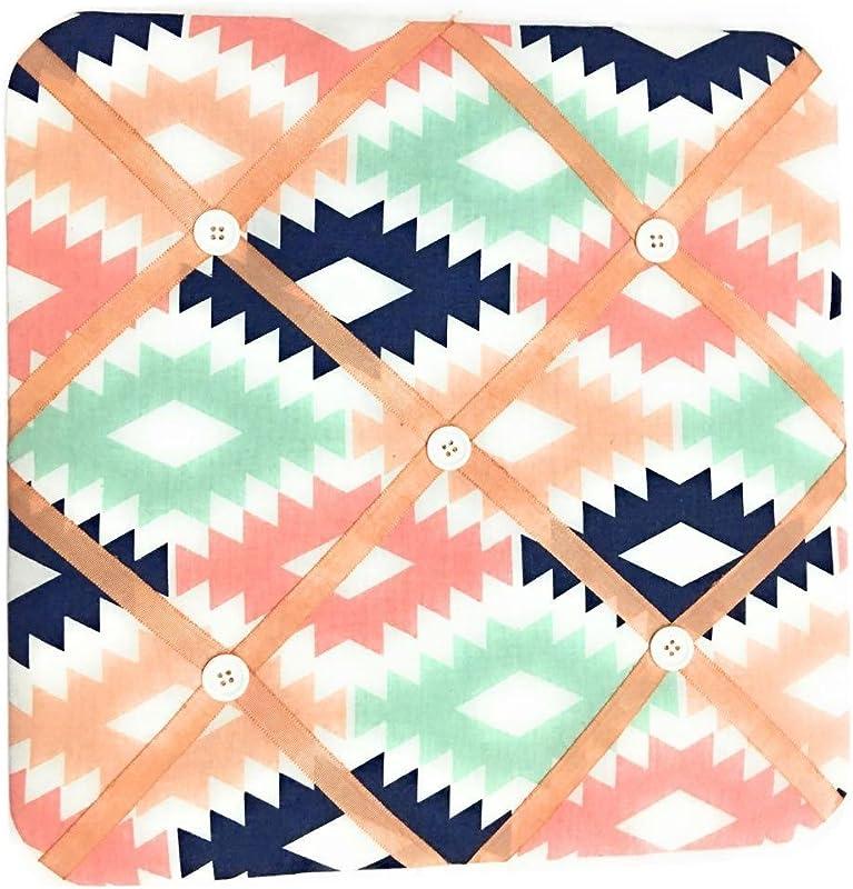 Bacati Aztec Emma Girls Fabric Memory Memo Photo Bulletin Board Coral Mint Navy
