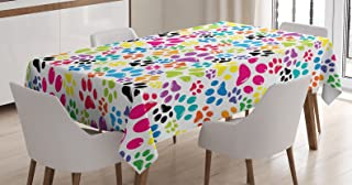Sponsored Ad - Ambesonne Dog Tablecloth, Colorful Little Paws Steps Childish Artwork Cartoon Unusual Traces Design, Rectan...