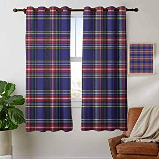 Curtains Plaid,Old Fashioned Scottish Tartan Country Style with Geometric Look Abstract Arrangement,Multicolor,Treatments Thermal Insulated Light Blocking Drapes Back for Bedroom 42