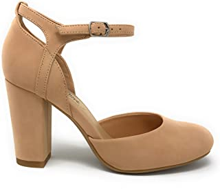 City Classified Women's Closed Toe Ankle Strap Block Heel (8, Nude Q)