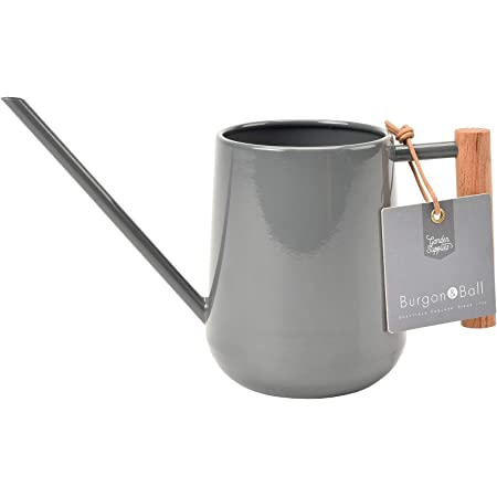 Burgon & Ball Indoor Watering Can in Charcoal Grey 0.7L Lightweight with Wooden Handle