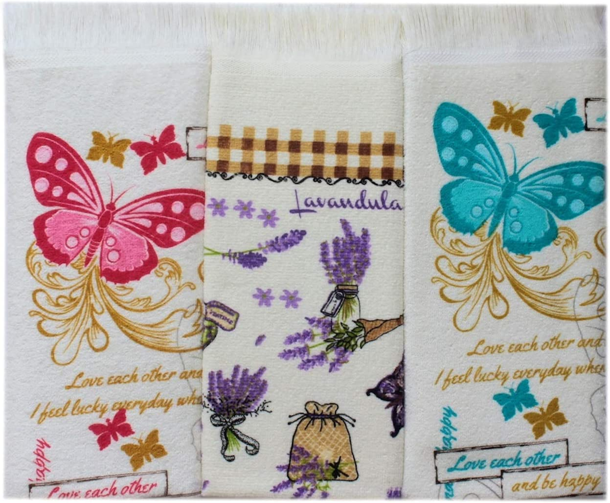 Amazon Com Znb S Spring Home Printed Soft Kitchen Dish Towels Size 16x24 Inches Set Of 3 100 Cotton Great Gift Choice Multi Purpose Eco Friendly Absorbent Decorative Tea Towels Butterflies Lavender 16x24 Home Kitchen