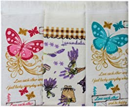Dish Towels Butterfly Paisley Butterflies 15x25 Set of 2 Spring Pom Pom Edge