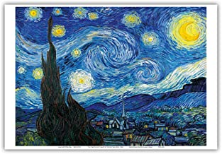 Pacifica Island Art The Starry Night - Saint-Rémy-de-Provence, France - French Impressionist painting by Vincent van Gogh c.1889 - Master Art Print - 13in x 19in