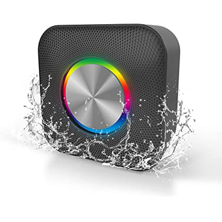 Waterproof Portable Bluetooth Speaker with Party Lights Supports up to 32G TF Cards- Black