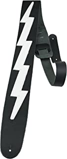 """Perri`s Leathers Lightning Bolt Famous Guitar Strap, Black & White Leather, 2.5"""" inches Wide, Adjustable length 43"""" to 56""""..."""