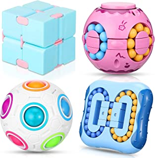 4 Pieces Fidget Toy Set Includes Rotating Magic Bean Toys, Rotating Small Beads, Magic Rainbow Ball, Infinite Cube, Finger...