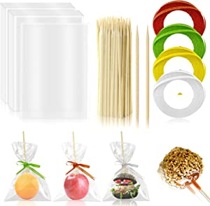 YG_Oline 204 Pcs Candy Apple Supplies, Candy Apple Sticks and Bags Caramel Apple Sticks, 100 Pcs Candy Apple Sticks & 100 Pcs Bags & 4 Roll Glitter Ribbons Tie(Red, Green, Gold and Silver)