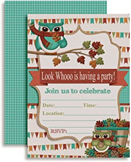 Look Who Fall Owl Themed Fill in Birthday Party Invitations, 20 5