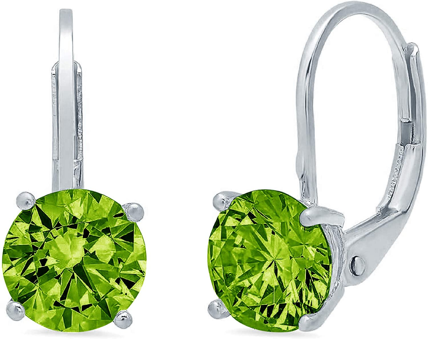 2.9ct Brilliant Round Cut Solitaire Designer Genuine Natural Light Green Peridot Gemstone Unisex Flawless pair of Lever back Drop Dangle Earrings Solid 14k White Back conflict free Jewelry