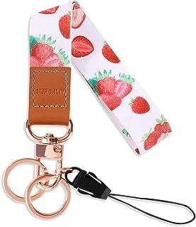 Kawaii Pink Strawberry Lanyard Key Strap Key Holder ID Budge Lanyard Key Lanyard Kay Chain Gift for Her