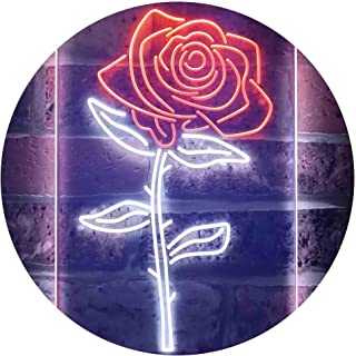 Rose Flower Room Dual Color LED Neon Sign White & Orange 300 x 400mm st6s34-i3531-wo