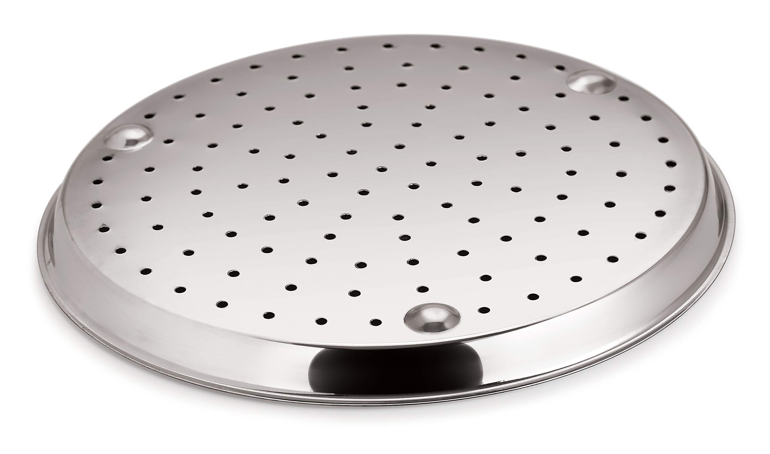 Chef Direct Stainless Steel Pizza Pan for Oven Ø 28 cm // Pizza Crisper, Bread Baking & Serving Pan//Perforated Bottom…