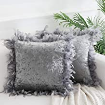Decorative Feather Throw Pillow Covers 18x18 Inches, Masonry Velvet Throw Pillows Cushion Covers for Sofa Couch Bed, Set of 2, Silver Grey