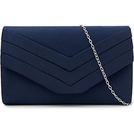 Milisente Damen Clutch, Wildleder Handtasche Clutch Umschlag Crossbody schultertasche Clutch Tasche Abendtasche marineblau (Blau)