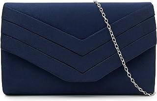 Milisente Damen Clutch, Wildleder Handtasche Clutch Umschlag Crossbody schultertasche Clutch Tasche Abendtasche marineblau...