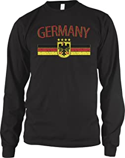 Amdesco Men`s Germany Flag and German Eagle Crest Long Sleeve Shirt