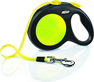 Flexi New Neon Retractable 16' Dog Leash Tape, Large, Black/Neon