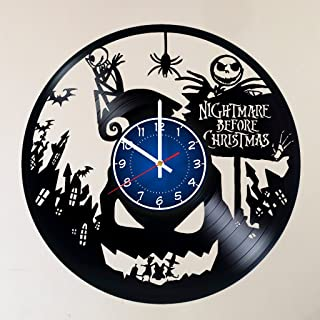 NIGHTMARE BEFORE CHRISTMAS 12 INCHES 30 CM VINYL WALL CLOCK stuffed animals Handmade Vinyl Record Wall Clock - Jack and Sally Disney home room wall decor - Gift ideas for parents, teens gift for girls