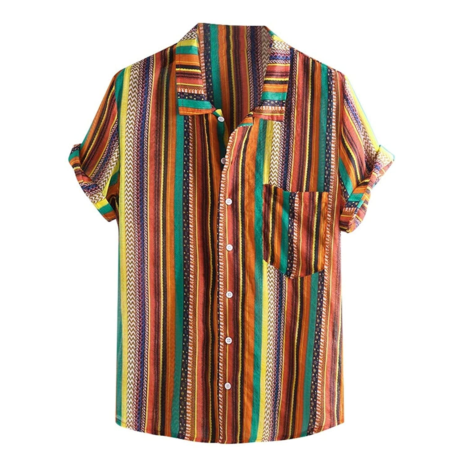 Swyss Men's Casual Ethnic Style T-Shirts Colorful Stripe Short Sleeve Loose Summer Beach Shirts Tops