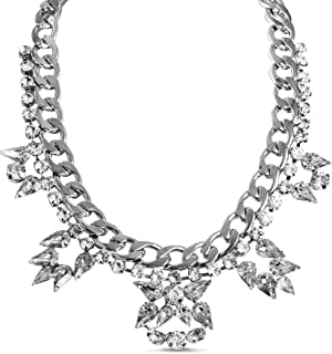 Steve Madden Curb Chain Floral Rhinestone Statement Necklace for Women