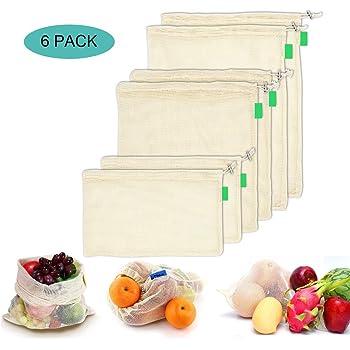 AYUTOY 6 Piezas Bolsas de Vegetales Reutilizables de algodón Bolsa de Malla Lavable Bolsas de Malla Transpirables Adecuado para Frutas y Verduras (2X S, 2X M, 2X L): Amazon.es: Hogar