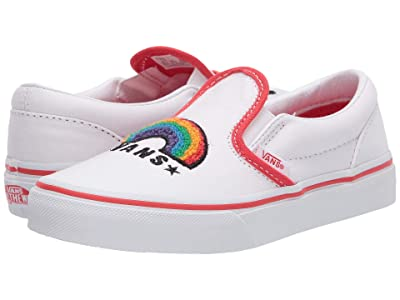 Vans Kids Classic Slip-On (Little Kid) ((Chenille) Rainbow/True White) Girls Shoes
