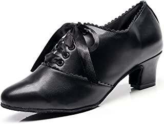 Minishion Women's Ruched Lace-up Chunky Low Heel...