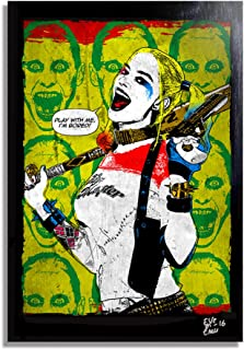 Harley Quinn (Margot Robbie) from Suicide Squad - Pop-Art Original Framed Fine Art Painting, Image on Canvas, Artwork, Movie Poster