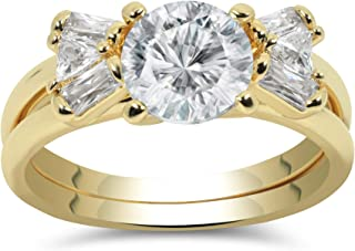 Nessy Designs Best Ring Set: Beautiful, Elegant 18k Yellow Gold Plated Engagement Ring, Perfectly Cut Shimmering Solitaire Gems with Two-in-one Hook-in Bow Tie, Ideal Gift for Lovers
