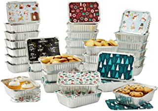 Set of 36 Christmas Treat Foil Containers - 6 Holiday Designs, Snowman & Santa Festive Cover Print - 7