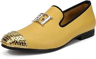 Lilith-Bar Zapatos de Piel para Hombre de Gran tamaño, diseño Casual con Hebilla de Cara Brillante y Puntera de Metal Dorado