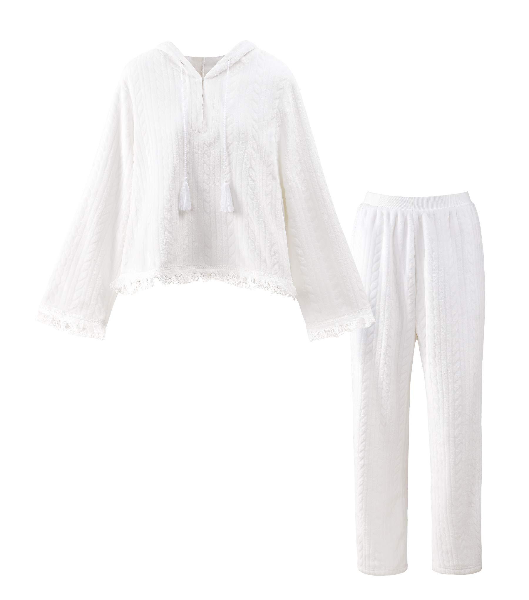 Ensemble de Pyjama Vêtement de Nuit Famille-Femme Deux Pièces Capuche Top et Pantalon Long Hiver Polaire Doudou Chaud épais Rose