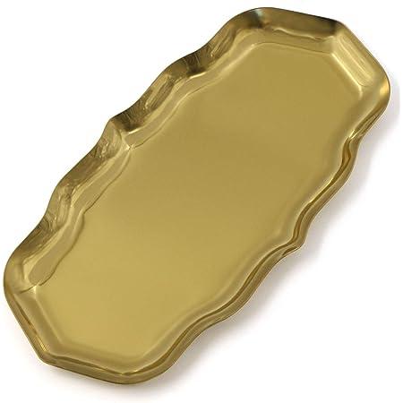 Plateau de service doré - Organiseur cosmétique - Petits objets - Plateau cosmétique - Plateau à bijoux - Plateau en acier inoxydable - Plateau vanity pour bijoux, cosmétiques, bougies, desserts
