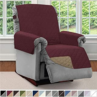 Sofa Shield Original Patent Pending Reversible Large Recliner Protector, Seat Width up to 28 Inch, Furniture Slipcover, 2 Inch Strap, Reclining Chair Slip Cover Throw for Pets, Recliner, Burgundy Tan