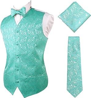 Alizeal Mens Classic 4pc Paisley Jacquard Waistcoat Suit Vest Set