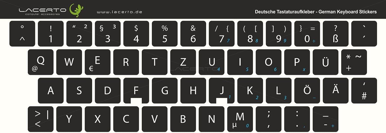 Pegatinas de teclado alemán de Lacerto para teclados de PC y portátil, diversos tamaños, con protección de mate laminado. negro Negro 12x12 mm