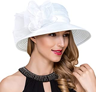 871269ce976fb Lady Church Derby Dress Cloche Hat Fascinator Floral Tea Party Wedding  Bucket Hat S051