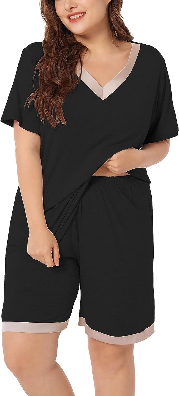 ZERDOCEAN Women's Plus Size Sleepwear Pajama Set Short Sleeve with Shorts Nightwear Two-piece Pj Lounge Sets