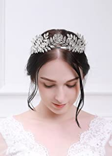 Kercisbeauty Halloween Athena Vintage Baroque Crown with Oliver Branch,Full Round Tiara for Party,Prom(Silver)