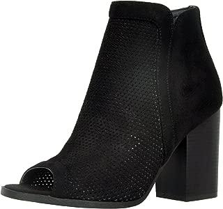 Refresh Footwear Women's Perforated Stacked Chunky Heel Peep Toe Ankle Bootie