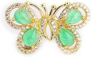 3D Yellow Gold Natural Green Jade Gemstone Butterfly Earrings Women Gift